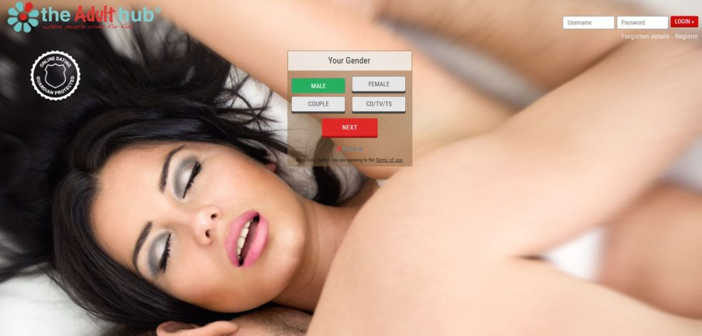 Adult dating homepage showing a women enjoying her pleasure time with a man