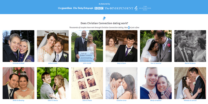landing page of christian connection - picture collage of several success stories who have matched via cc
