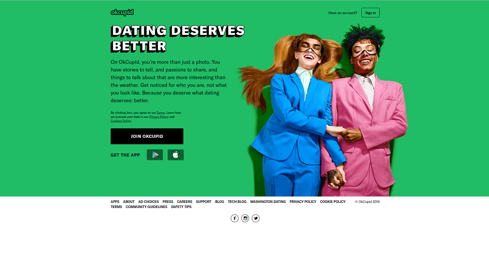 OKCupid dating app homepage. One of the biggest dating apps