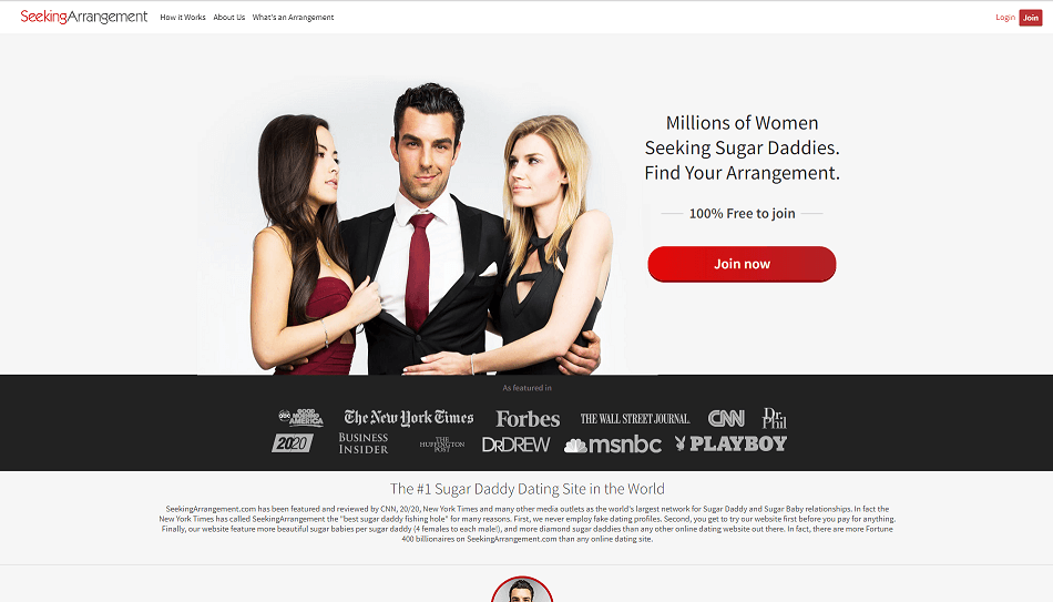 landing page of seeking arrangement. sugar daddy in suit with two attractive single ladys sugarbabes in each arm.