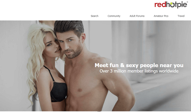 sexy couple posing infront of a white wall. redhotpie landing page
