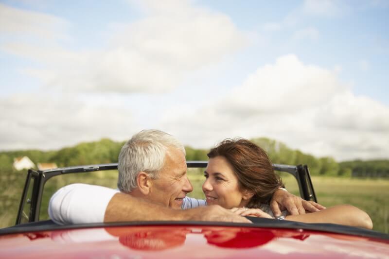 mature couple on a roadtrip