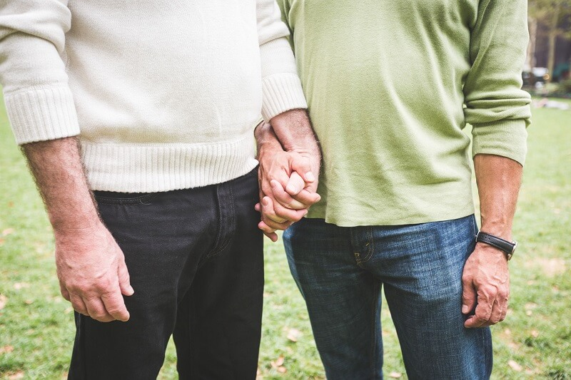 Two gay older men holding hands together in a park.