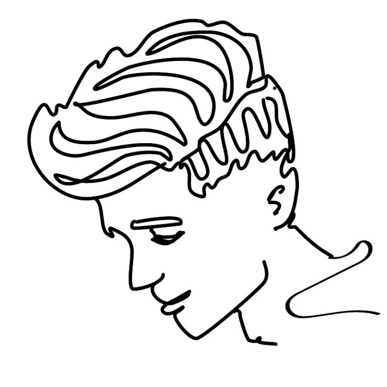 black line profile drawing of a classic fuckboy