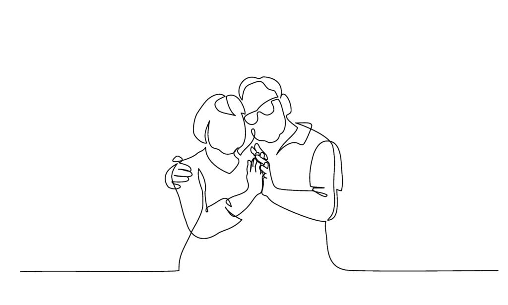black line image of older couple cuddling
