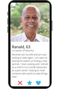 Dating profile example of Ranald on a smartphone