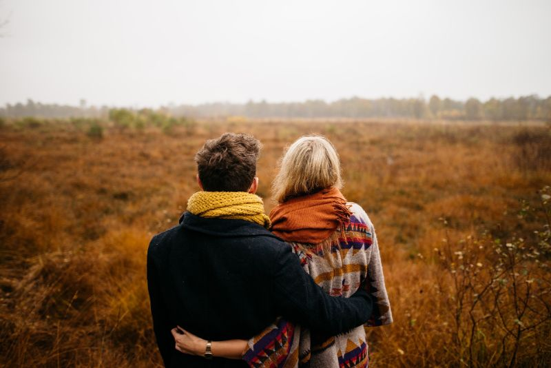 Christian couple in field