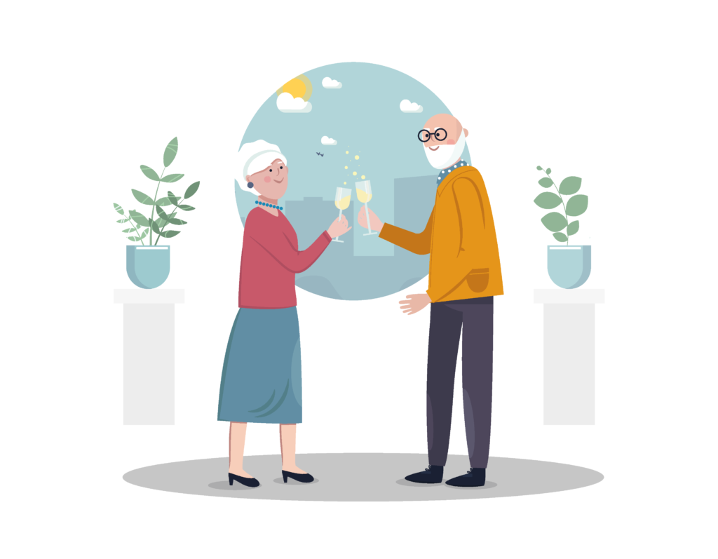 art image of older couple drinking champagne