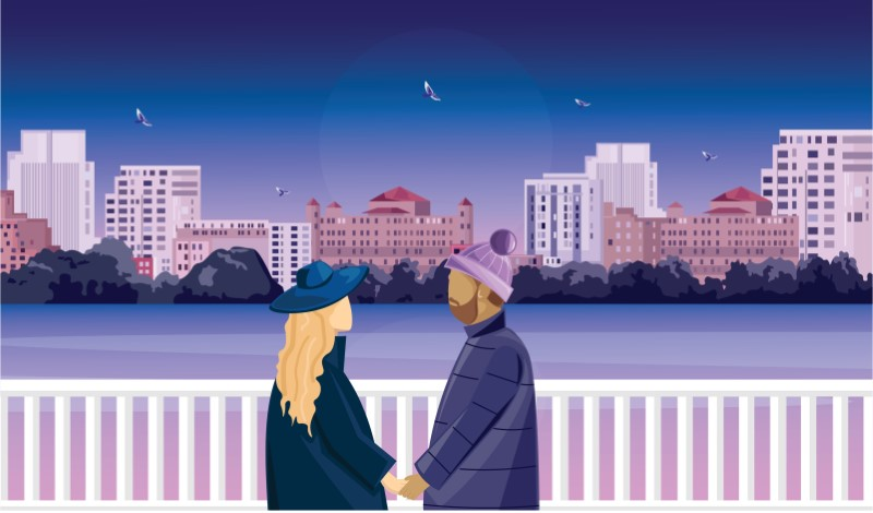 illustration of two singles on a date