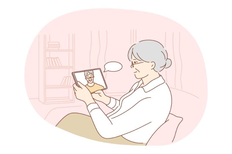vector art of seniors dating online
