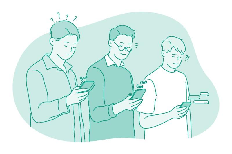 Vector art of men using smart phones