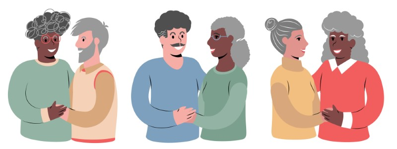 illustration of mature couples of different sexualities