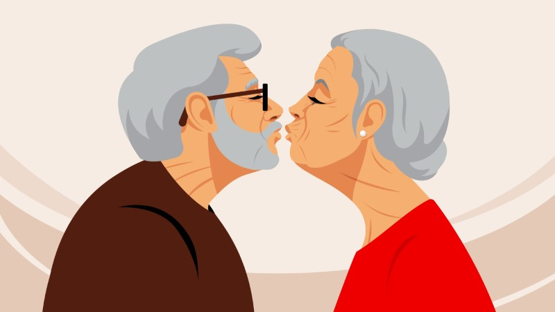 illustration of older man and woman about to kiss