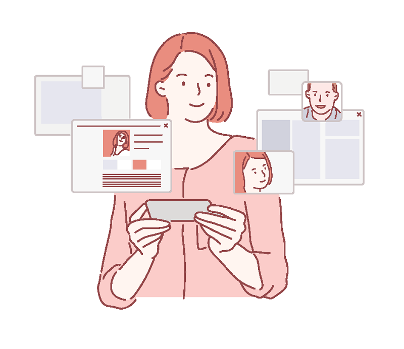 vector art of a woman creating a dating profile