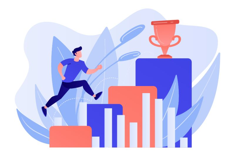 Vector art of man running up to achieve goals