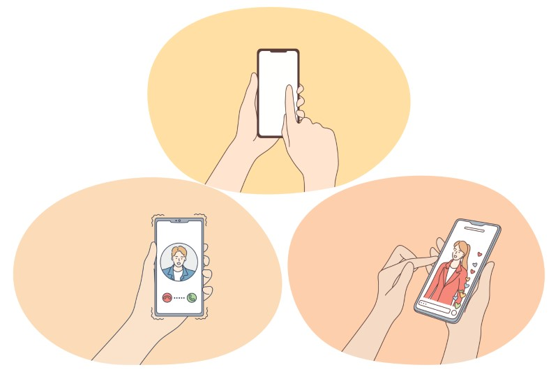various illustrations of people dating on their phone