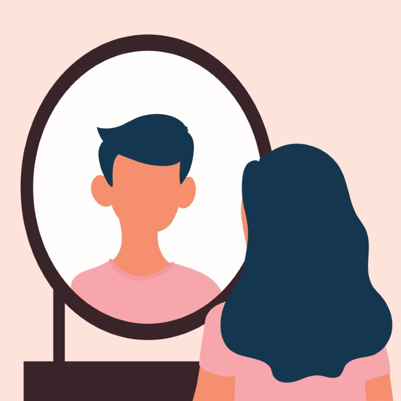 vector art of a transgender person looking into a mirror