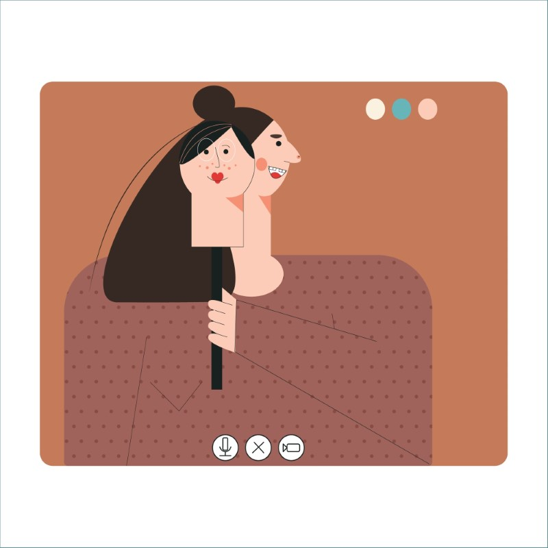 illustration of catfish woman using a mask on a video call