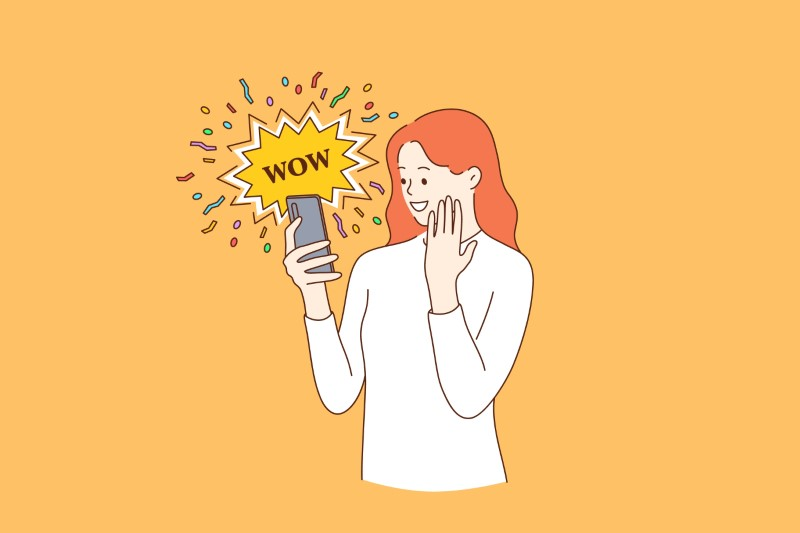 illustration of woman looking at her phone saying wow