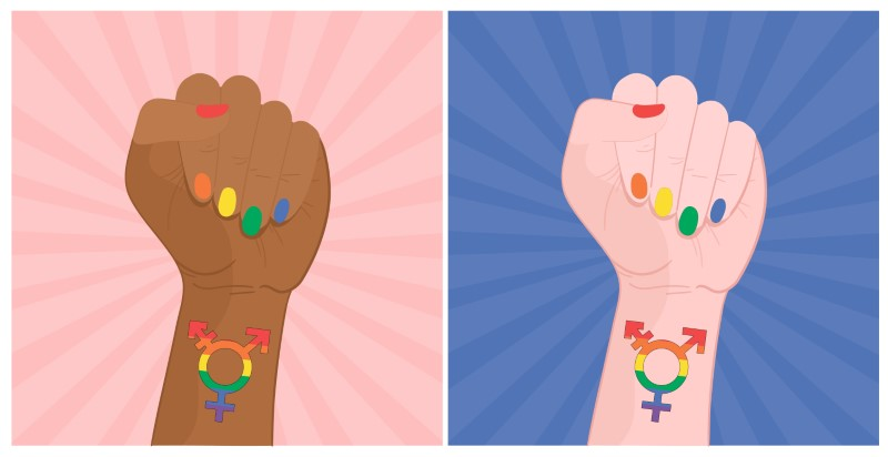 illustrated hand of white and black person with rainbow nails and the transgender sign on the wrists