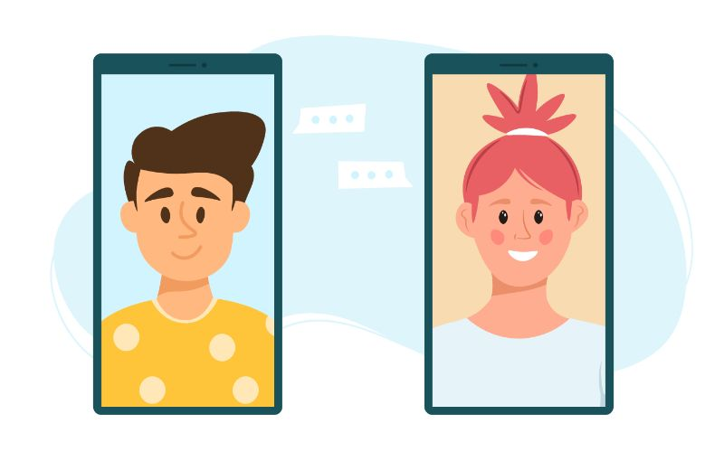 vector art of two phones showing a girl and a boy