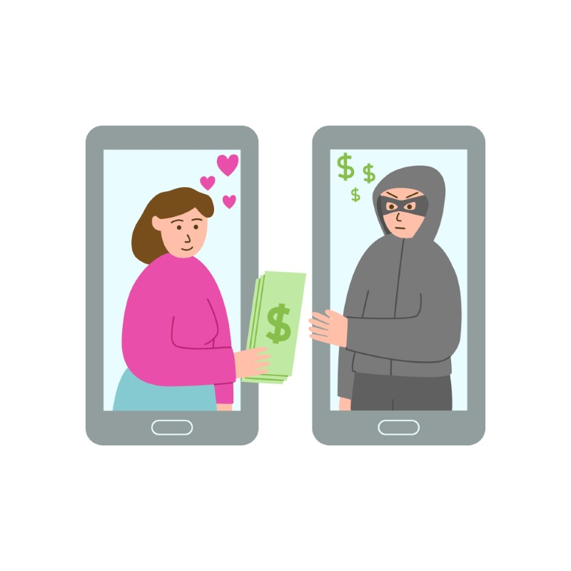 illustration of woman in love giving her money to an online scammer