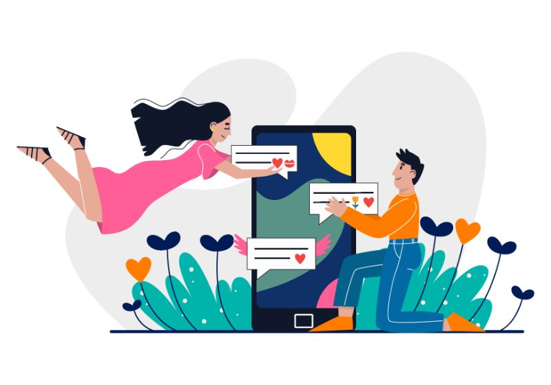 Vector art of man and woman falling in love online