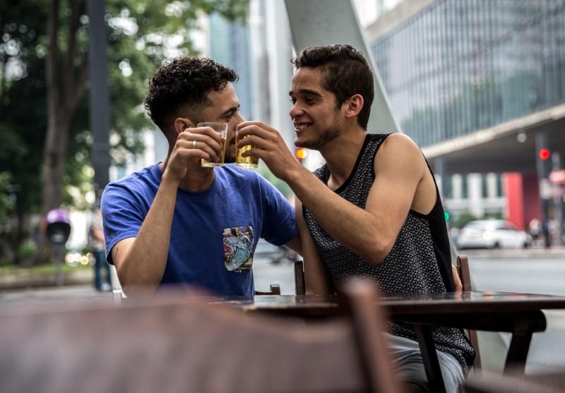 gay guys having a drink