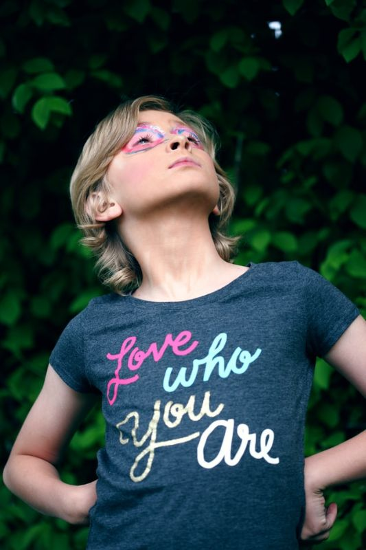 Woman with Love who you are t-shirt on