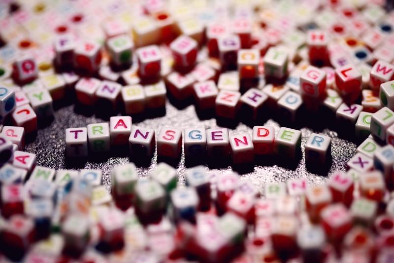 """letter cubes saying """"transgender"""""""