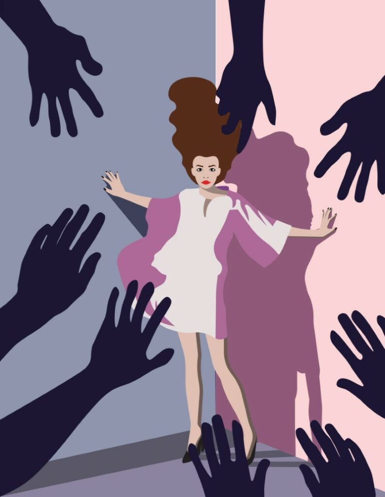 illustration of woman cornered by different hands reaching for her