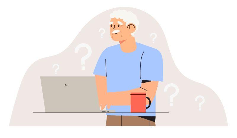 vector art of an older man using a laptop