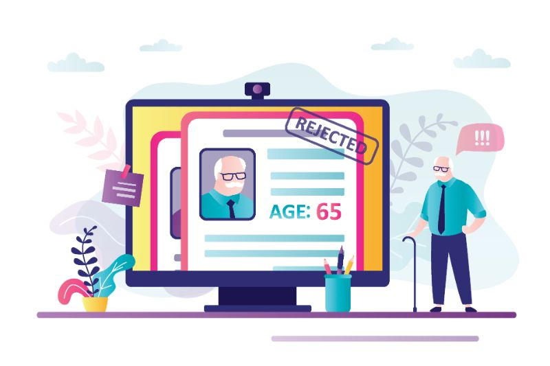 vector art of an elderly man seeing his profile got rejected online
