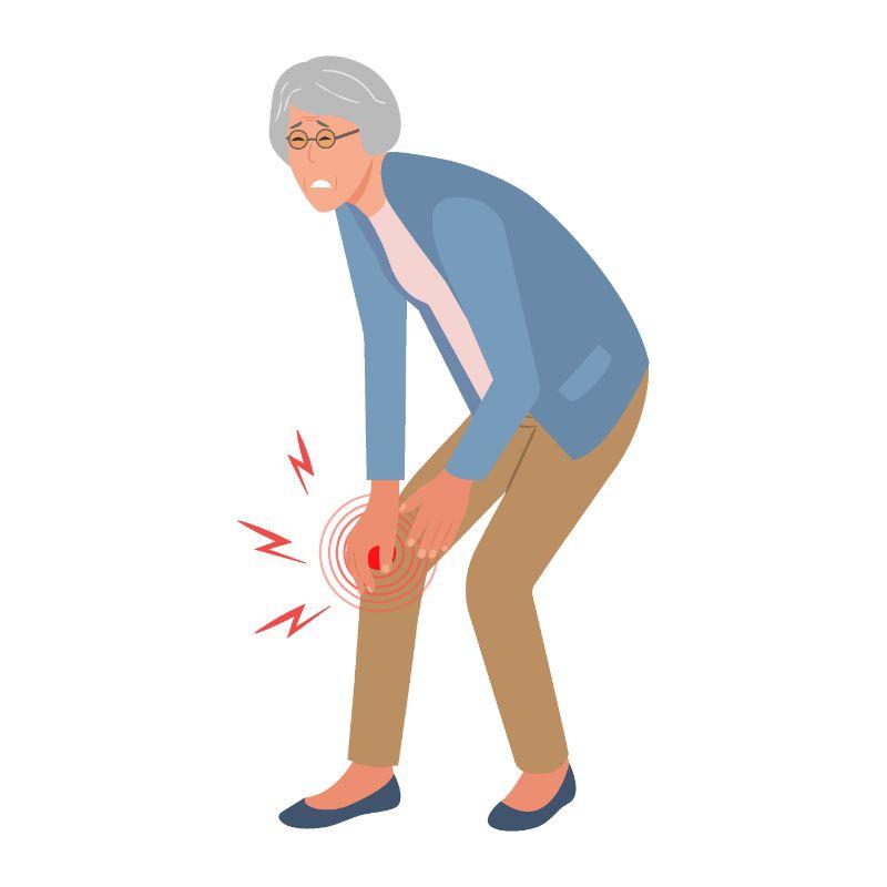 vector art of older woman hurting her leg
