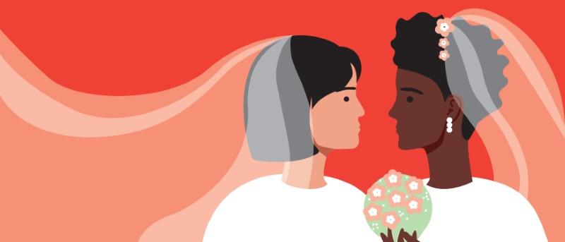 two female brides vector art
