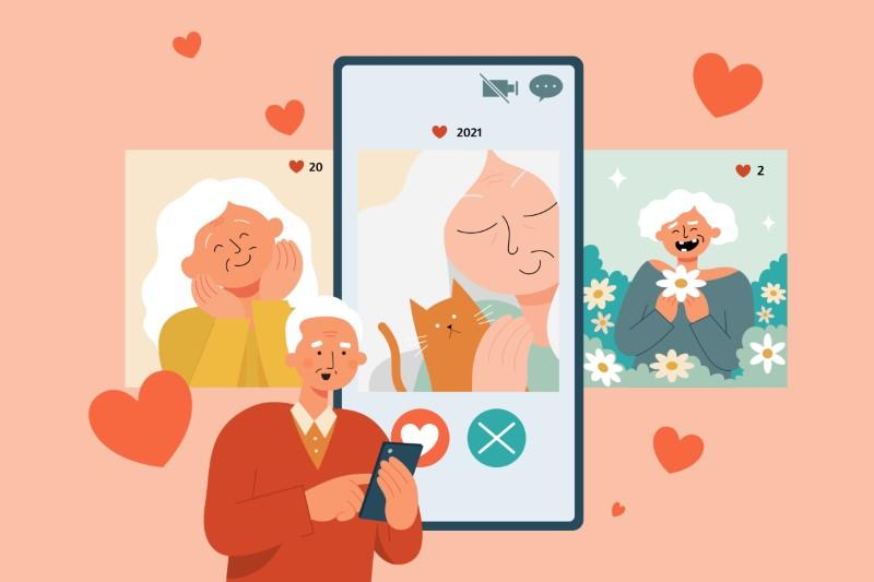 illustration of senior swiping through dating profiles