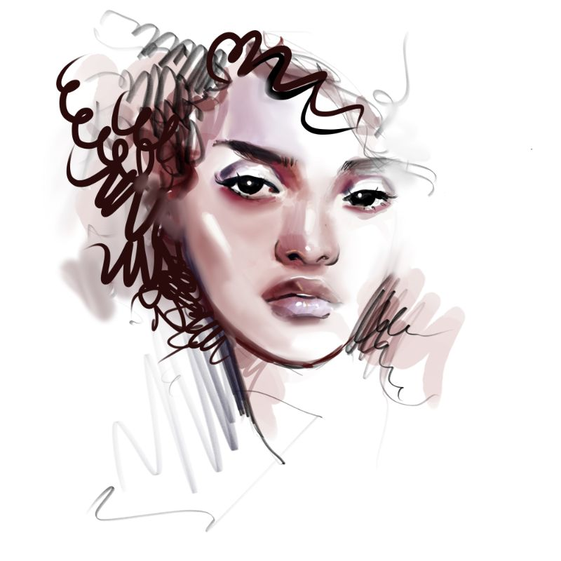 vector art of woman with curly hair